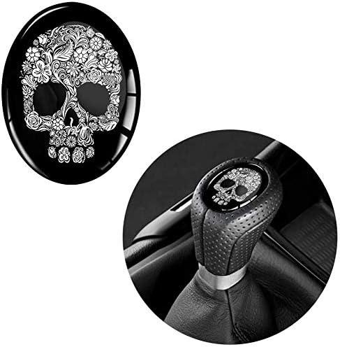 Biomar Labs 1 X Schalthebel Aufkleber 3d Gel Silikon Sticker Oval Schaltknauf Emblem Skull Punisher Schädel Autoaufkleber S 75 Auto