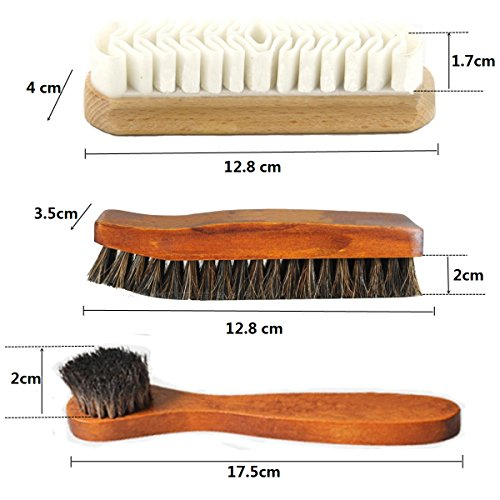 Horsehair Shoe Brush Set Multifunctional Shoe Cleaning and Shine Brush Kit for Leather Shoes, Suede and Nubuck Shoes, Car Seat or Leather Furniture by XITANGOU (Image #6)