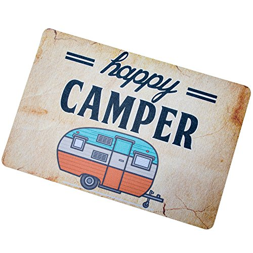 Happy Camper Camping Door Mat Entrance Mat Floor Mat Rug Indoor/Outdoor/Front Door/Bathroom Mats Rubber (Door Camper Mat For)