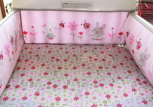 NAUGHTYBOSS Girl Baby Bedding Set Cotton 3D Embroidery Rabbit Flowers Insects Quilt Bumper Mattress Cover Bedskirt 7 Pieces Set White Pink by NAUGHTYBOSS (Image #3)