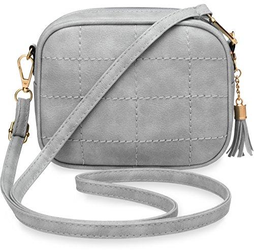 kleine Schultertasche gesteppte Damentasche grau