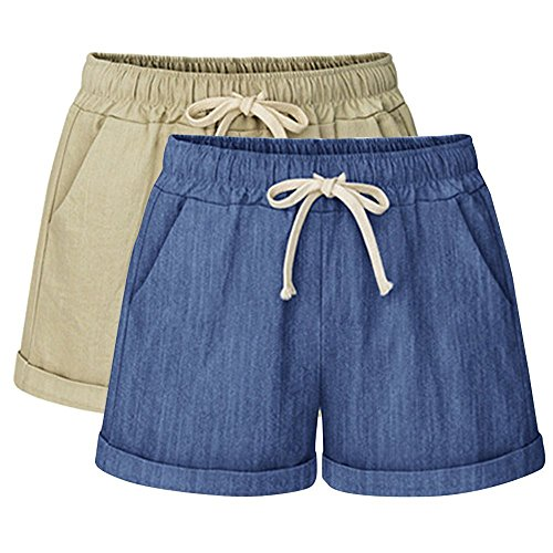 Yknktstc Womens Plus Size Elastic Waist Cotton Linen Casual Beach Shorts with Pockets 4X-Large 2 Pack Khaki Denim Blue ()