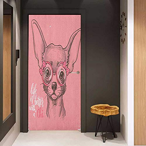 - Onefzc Glass Door Sticker Decals Dog Girl Chihuahua Sketch Illustration with Quote Fashion Glasses Ribbons Puppy Door Mural Free Sticker W30 x H80 Pale Pink Army Green