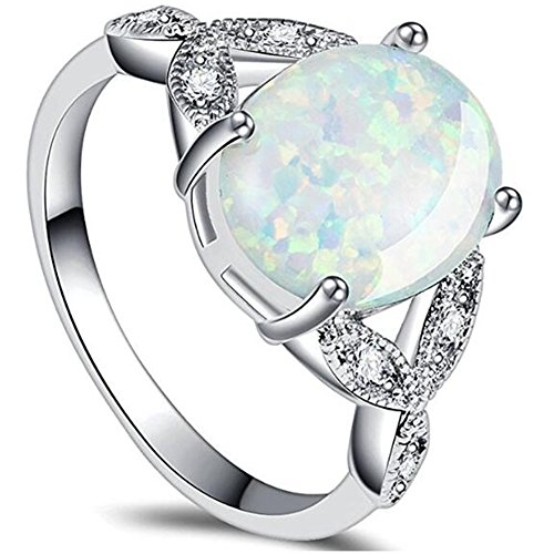 (Jude Jewelers Stainless Steel Oval Shape Created Opal Wedding Engagement Promise Anniversary Valentine Ring (Silver, 6))
