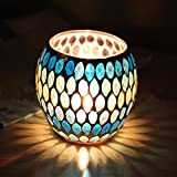 Yeefant Blue Green Willow Handmade Mosaic Glass Candlestick Props Tea Light Candle Holders Wedding Coffee Table Decorative Centerpieces for Mothers Day Birthday Gifts,4.1x4.1x3.9 Inch,Multicolor D
