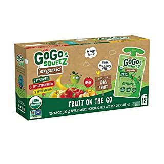 GoGo SqueeZ Organic Applesauce on The Go, Variety Pack (Apple/Banana/Strawberry), 3.2 Oz (12 Pouches), Gluten Free, Vegan Friendly, Unsweetened, Recloseable, BPA Free Pouches (Packaging May Vary)