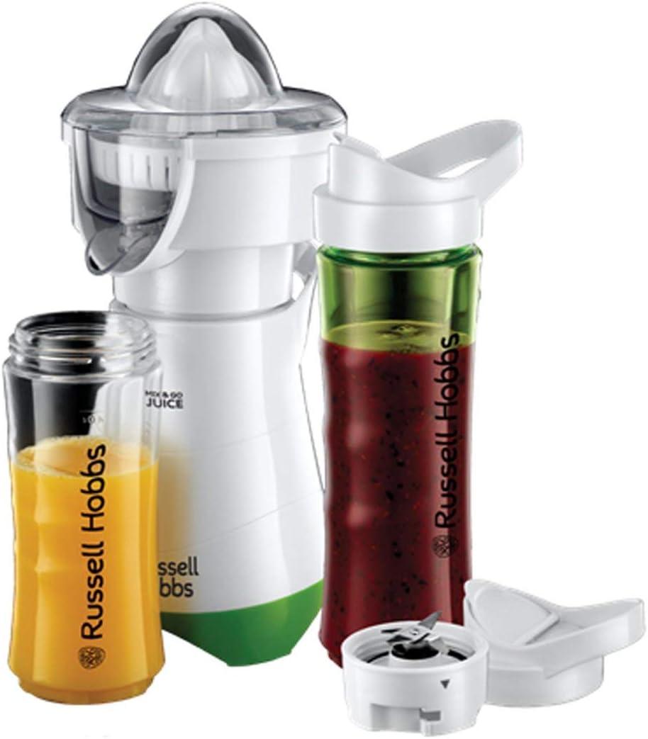 Russell Hobbs Mix & Go - Exprimidor y Batidora de Vaso Individual (300W, Batidora Smoothies, Sin BPA, Blanco y Verde, 1 Vaso de 600 ml, 1 Vaso de 400 ml) - ref. 21352-56: Amazon.es: Hogar
