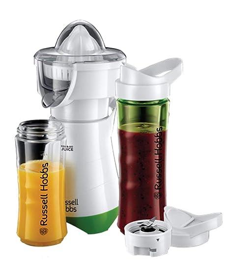 Russell Hobbs Mix & Go - Exprimidor y Batidora de Vaso Individual (300W, Batidora Smoothies, Sin BPA, Blanco y Verde, 1 Vaso de 600 ml, 1 Vaso de 400 ...