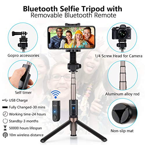 KUSKY Selfie Stick Tripod Bluetooth Upgraded, Phone & Camera Tripod Selfie Stick with Wireless Remote Shutter for Gopro,Action Cameras, iPhone Xs MAX/XR/XS/X/Galaxy S9 Plus and More