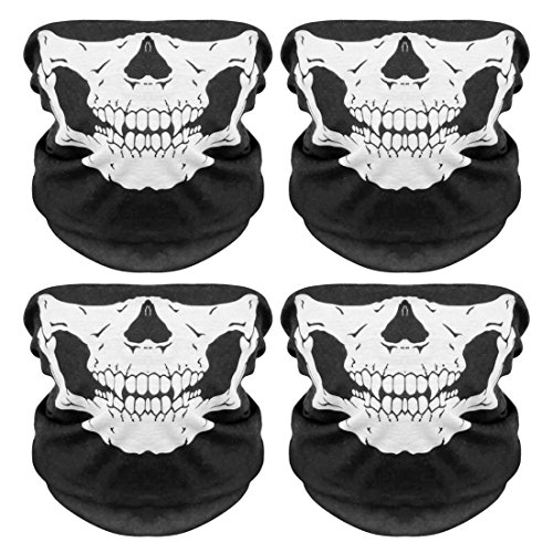 PAMASE Outdoor Seamless Polyester Motorcycle Tube Face Mask-Breathable Skull Mask for Riding-4 (Motorcycle Skull Mask)