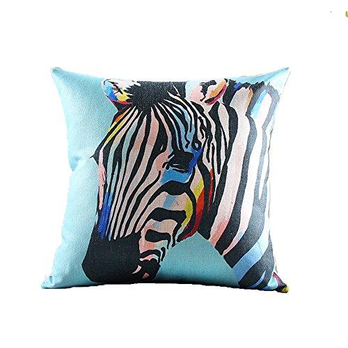 "HYSENM 24""X24"" Colored Painting Zebra Series Cotton Linen..."