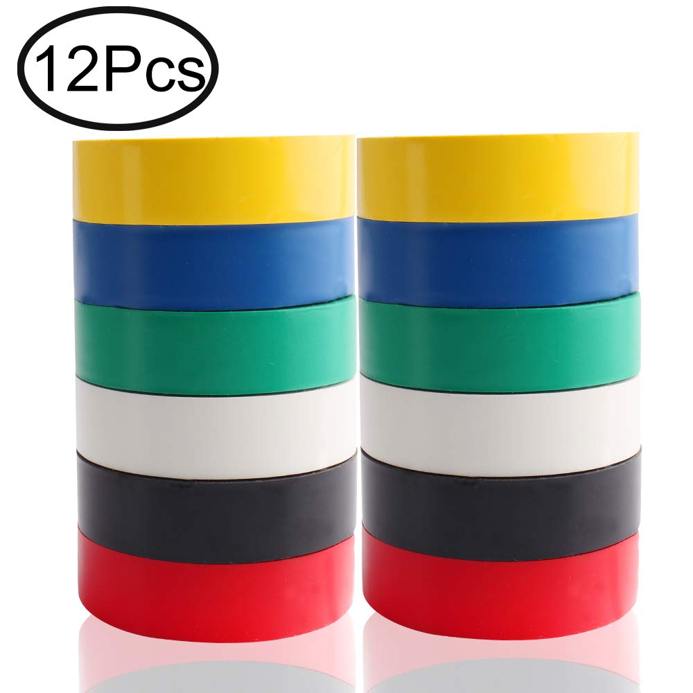 Electrical Tape PVC, Defrsk 12 Pack Electrical Tape Pack Insulation Tape for Wires 6 Colours Adhesive Waterproof Tape Roll 0.6 Inch*50 Feet