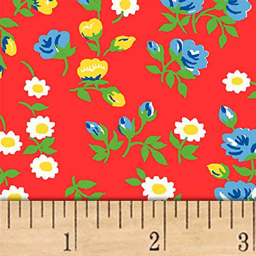 Windham Fabrics Sugar Sack Mini Floral Red Fabric by The Yard