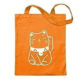 Winkekatze Maneki - Neko Jute Cotton school fitness shopping bag long handle