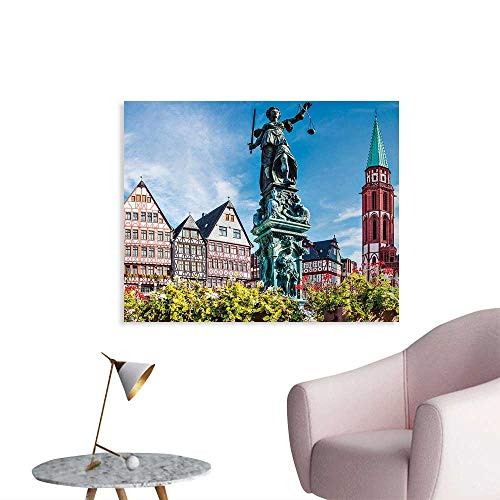 Tudouhoho European Custom Poster Old City of Frankfurt Germany with Historical Buildings Statue Cityscape Scenery Art Stickers Multicolor W32 xL24 (Gucci Frankfurt)