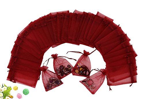 (Wuligirl 100 PCS Wine Red Bag Jewelry Party Wedding Festival Candy Gift Organza Drawstring Pouch Bags (100 pcs Red, 4x6