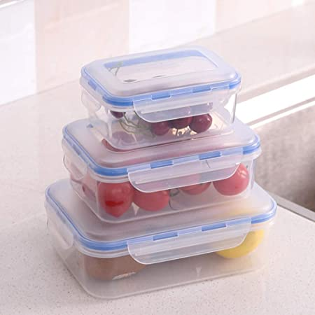 LanLan 3 Unids/Set Rectángulo Caja de Almacenamiento de Alimentos ...