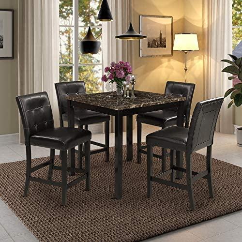 5-Piece Kitchen Table Set Brown Faux Marble Top Counter Height Dining Table Set with 4 Black Leather-Upholstered Chairs