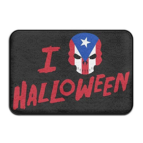 Indoor/Outdoor Natural Easy Clean Doormat 23.6x15.7 inches/40x60cm Inside & Outside Carpet Entrance Mat I Love Halloween Skull Puerto Rico Flag Design Pattern for Bathroom -