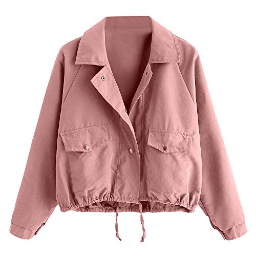 Price comparison product image Litetao Womens Girls Short Coat Fashion Button Pocket Jacket Button Casual Outwear (Pink,  S)