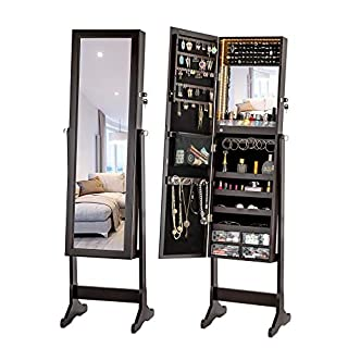 LUXFURNI LED Light Jewelry Cabinet Standing Mirror Makeup Lockable Armoire, Large Storage Organizer w/Drawers (Brown, L)