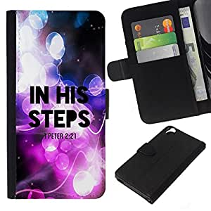All Phone Most Case / Oferta Especial Cáscara Funda de cuero Monedero Cubierta de proteccion Caso / Wallet Case for HTC Desire 820 // BIBLE In His Steps - Peter 2:21