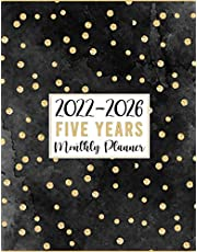 2022-2026 Five Years Monthly Planner: At a Glance 60 Months Monthly & Weekly Large Schedule Organizer & Agenda with Projects/Notes/Goals & Checklists   Simple 5 Years Calendar Planner 2022-2026 (Pretty Gold Stripes Black Cover)