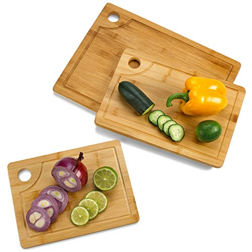 Premium Bamboo Cutting and Serving Boards Set of 3 (Large 12x16, Medium 9x13 and Small 8x11) Kitchen Wood Chopping Boards with Juice -