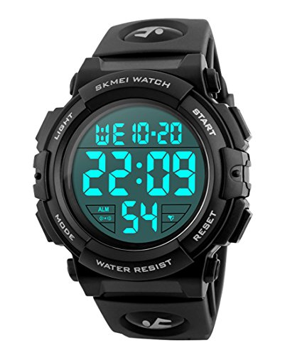- Men's Sports Watch with Classic Stopwatch Electronic LCD Backlight Military Time, 50M Waterproof Digital Watch for Mens Wristwatch with Large Dial and Number