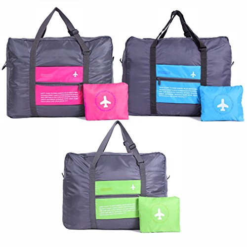 Foldable Travel Duffel Bag 32L Waterproof Lightweight Sport Gym Luggage Bag (3Pcs - Pink, Green, Blue) by GARASANI