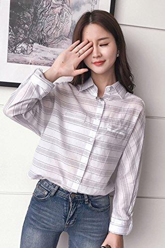 Polo cuello Rayas murciélago blusa de manga de las mujeres White One Size
