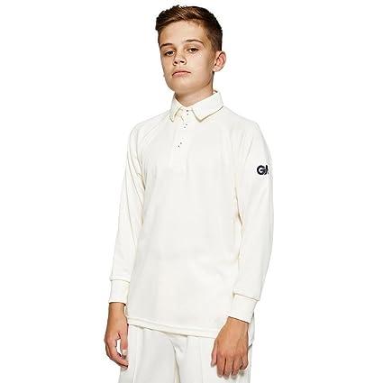 GM Premier Club Cricket Shirt Cream//Navy Large Boys