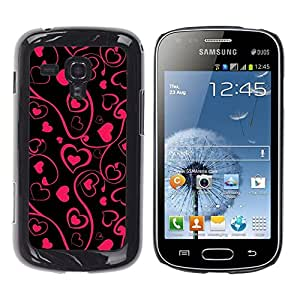 Stuss Case / Funda Carcasa protectora - Black Pink Floral Art Minimalist Design - Samsung Galaxy S Duos S7562