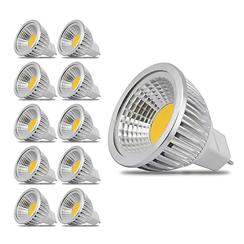 3 Watt MR16 COB LED Spot Light Lamp Warm White 3000k LED Bulb AC/DC 12V 90° Beam Angle (10-Pack)