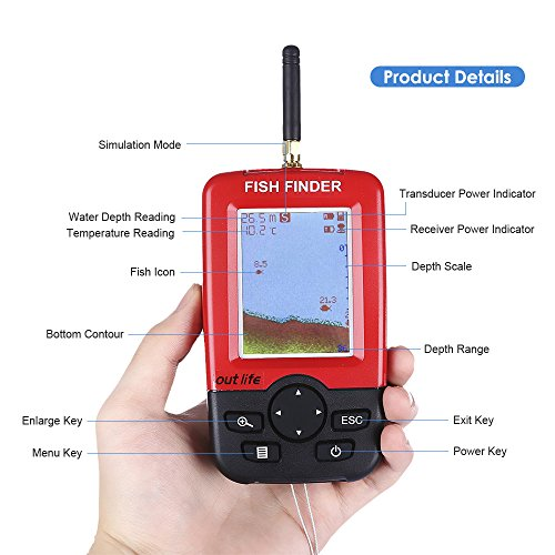 OUTLIFE Fish Finder - Wireless Sonar Sensor and Handheld LCD Display Monitor with Depth / Water Temperature / Fish Size / Location, for Small Boats Ice Lake Sea Night Fishing