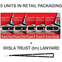 SanDisk Cruzer Glide 16GB (5 pack) SDCZ60-016G USB 2.0 Flash Drive Jump Drive Pen Drive SDCZ60 - Five Pack IN RETAIL PACKAGING! + Wisla Trust (TM) Lanyard