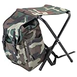 Greencolorful Fishing Backpack Chair,Portable Folding Backpack Cooler Chair,Camouflage Climbing Camping Stool with Insulated Picnic Bag/Rucksack Seat Bag for Hiking,Travel,Beach, BBQ