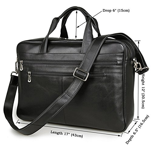 17-inch Leather Laptop Bag, Berchirly Large Lawyer Brifecase Man Computer File Bag Business Totes Black by Berchirly (Image #7)