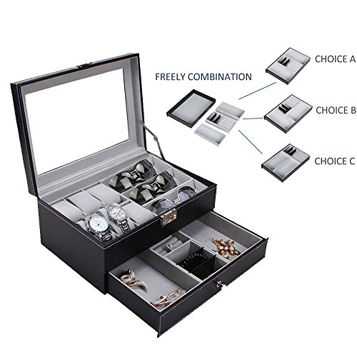 FINEFEY Watch Box Display Organizer for Men Glass Top Case with Black Leather 6 Watches Slots 3 Grey Velvet Sunglasses Organizer 3 Freely Dispatchable Jewelry box for Women (Double Watch Case)