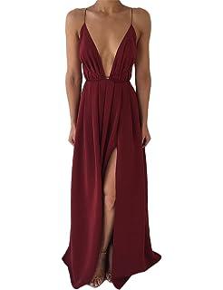 40b049ad036 DUBACH Womens Chiffon Spaghetti Strap Deep V Neck High Slit Maxi Beach Dress