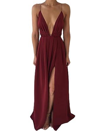 33e414b4da DUBACH Womens Chiffon Spaghetti Strap Deep V Neck High Slit Maxi Beach Dress  (Small,