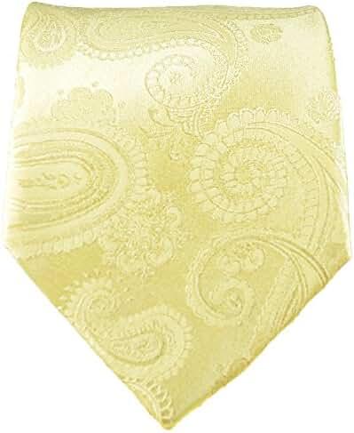 Paul Malone Paisley Necktie 100% Silk Champagne