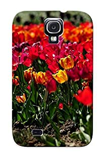 Crazinesswith Case Cover Protector Specially Made For Galaxy S4 Tulip Flowerbed