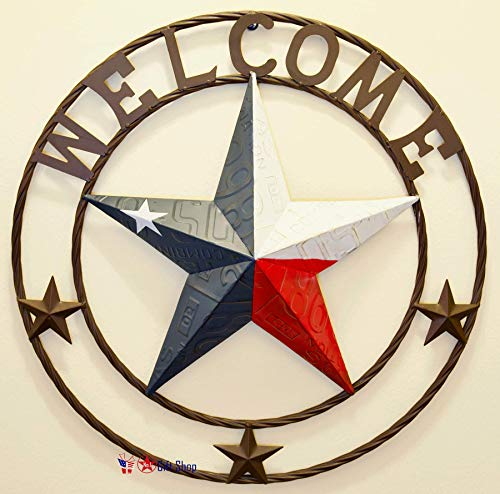 - BestGiftEver Metal Circled Star with Welcome Sayings - License Plate Embossed Red White Blue Star Wall Hanging Decoration Welcome Sign Front Door Porch