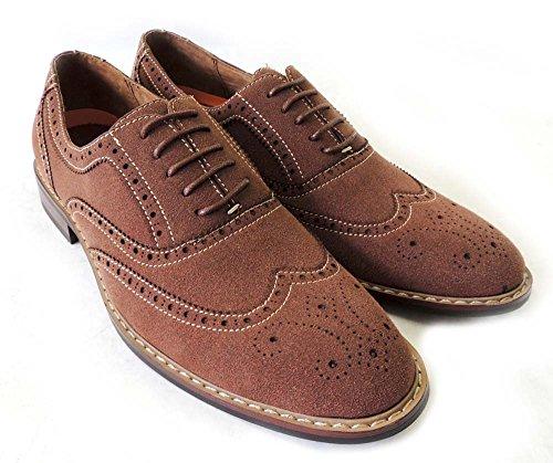 Nueva Moda Hombre Encaje Alrededor Tip Oxfords Faux Suede Cuero Vestido Calzado M139001 / Brown313