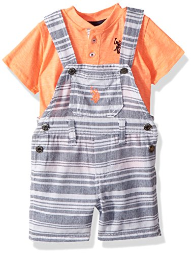 U.S. Polo Assn. Baby Boys T-Shirt and Short Set, Striped with Coral Top Multi Plaid, 12M