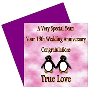 On Your 15th Wedding Anniversary Card - 15 Years - Crystal Anniversary ...