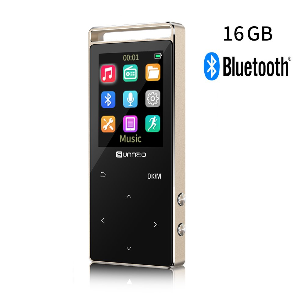 16GB Bluetooth MP3 Music Player with 50 Hrs Playback,Independent Lock Switch available,Support up to 128GB Micro SD Card