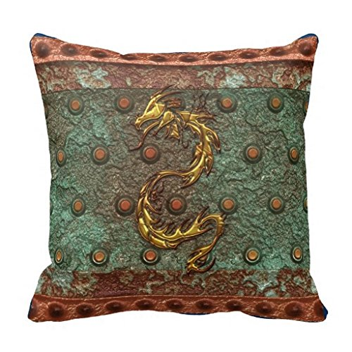 M47neFD Gold Dragon On Victorian Studded Steel Look Pillow Case 18