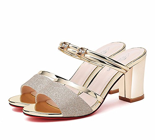 EU35 UK3 US5 No Trascinare Due e Scarpe Vestire CN34 Pantofole Estate 55 Moda Tacco Raffreddare Gold Ladies Shoes Scarpe Alto qxZBTwaq